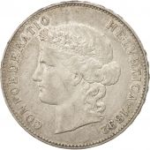 Switzerland, 5 Francs, 1892, Bern, AU(50-53), Silver, KM:34