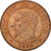 France, 2 Centimes, 1853, Lille, MS(64), Bronze, KM:776.7, Gadoury:103